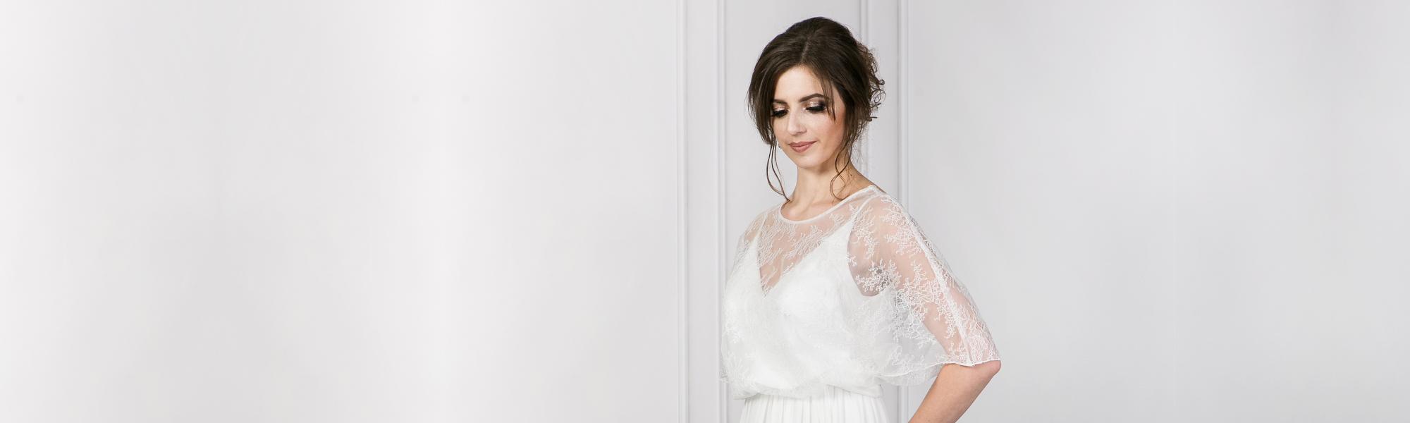 Cornelia suknia ślubna Empire muślinowa z koronką